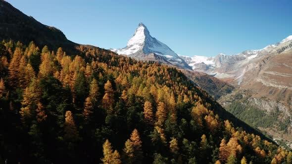 Thumbnail for Matterhorn Peak with Golden Larch at Autumn. Zermatt, Switzerland.