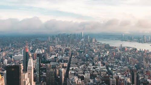 Aerial View of Lower Manhattan in New York