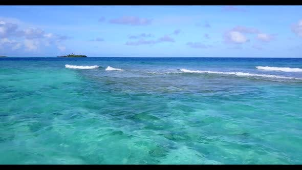 Thumbnail for Aerial drone seascape of paradise lagoon beach time by aqua blue lagoon with bright sand background