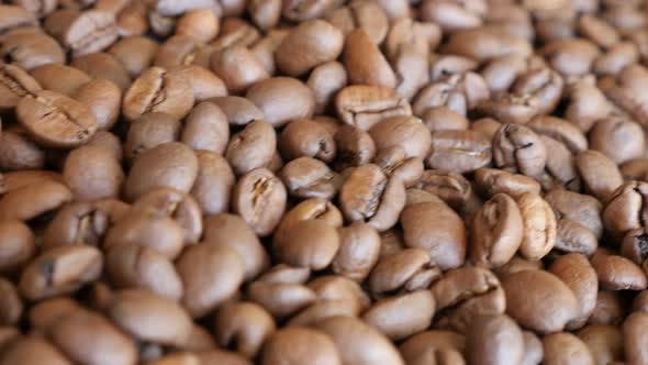 Thumbnail for Dolly shoot of coffee beans arranged background 4K 3840X2160 UltraHD footage - Slow dolly shoot of c