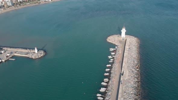 Marina with moored sailboats and yachts in Alanya, Turkey