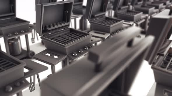Bbq Grill With Side Burners Stainless Steel  Bbq Grillware Stoves Hologram in a row 4k