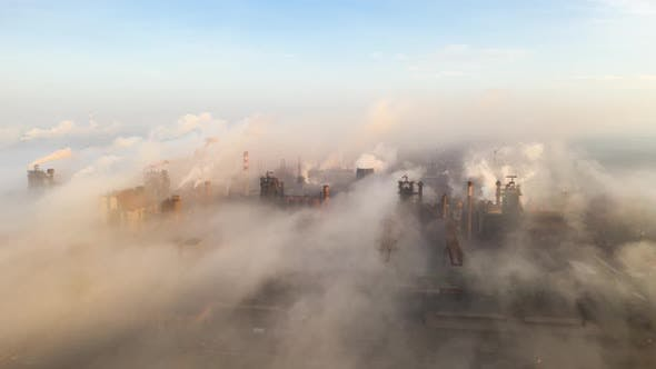 Cover Image for Aerial Hyperlapse Time Lapse. Steel Factory Pipes During Sunrise Time.