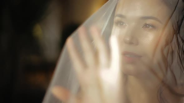 Cover Image for Morning of Happy Young European Bride in Wedding Veil, Slowly Pulling the Veil Forward, Close-up