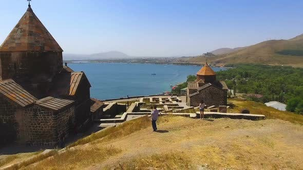Thumbnail for Drone Flying Over Sevanavank Monastery Complex, Sightseeing in Armenia, Religion