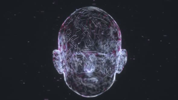 Thumbnail for Human Head With Artificial Intelligence By Circuit Board Technology Elements 4K