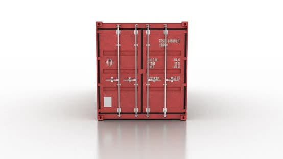Cover Image for Cargo Shipping Container Doors Opening Against White Background