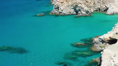 Greece landscape. Seascape at the day time. Bay and rocks.