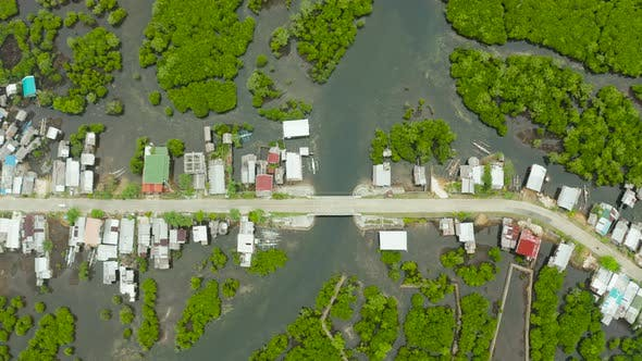 Thumbnail for Aerial View The Town Is in Mangroves. Siargao,Philippines