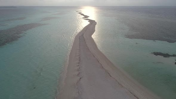 Thumbnail for Aerial view of overwaters bungalows connected by a footbridge, Maldives island.