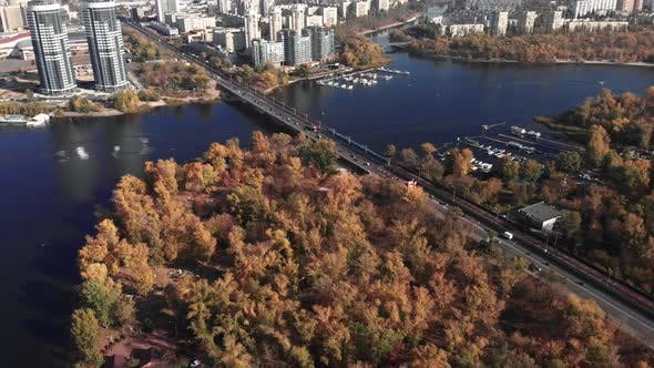 The Left Bank of Kyiv in the Fall. Hydropark. Ukraine. Dnipro River. Aerial View