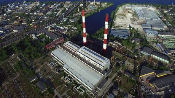 Thumbnail for Aerial View Industrial Pipe on Hydro Power Station. Pipe on Water Power Plant