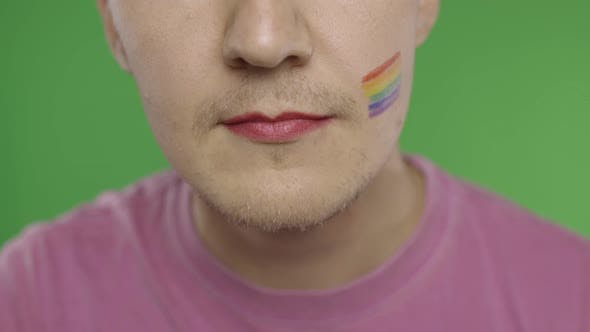 Thumbnail for Bearded Man with Painted Lips Smiling on the Camera. LGBT Community. Transsexual