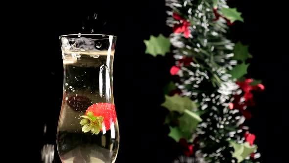 Christmas Champagne Strawberry Splashing