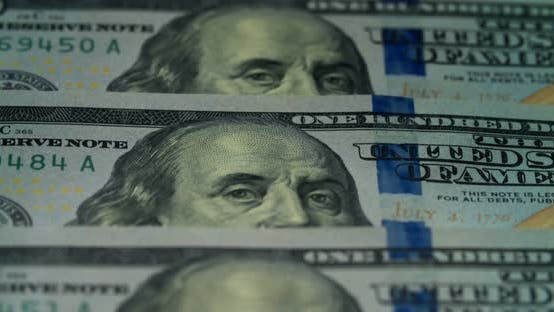 Macro many 100 american dollar bills. Cash money banknotes.