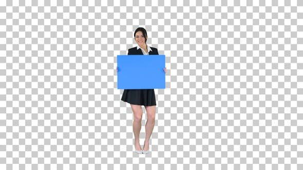 Thumbnail for A Stylish Woman Dancing and Holding Empty Poster, Alpha Channel