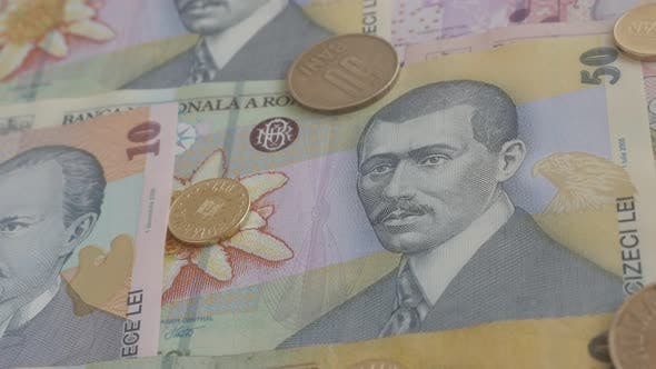 Coins and  paper  banknotes of Romania   3840X2160p 30fps UltraHD    video - Details of Romanian nat