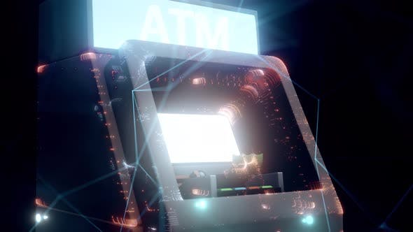 Automated Teller Machine Or Atm Hologram Close Up 4k