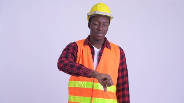 Thumbnail for Young Stressed African Man Construction Worker Giving Thumbs Down