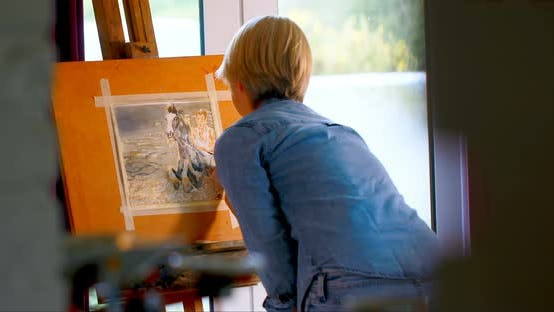Thumbnail for Female painter painting on a canvas at home 4k