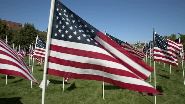 Thumbnail for Walking along side of American Flags waving in slow motion