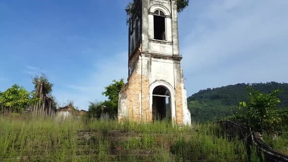 Front view of abandoned church.