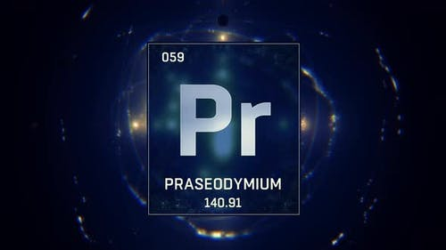 Praseodymium as Element 59 of the Periodic Table on Blue Background