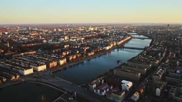 Thumbnail for Drone Flight Over City And Bridge Of Copenhagen