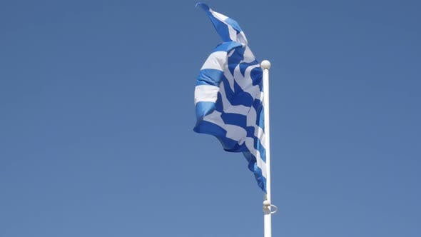 Thumbnail for Slow motion of Greek national symbol silky fabric on flagpole 1920X1080 HD footage - Flag of Greece