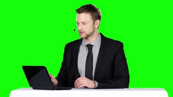 Thumbnail for Call Center Operator. Green Screen