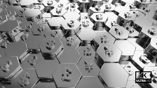 Silver World Currency Symbols With Hexagon Background