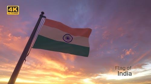 India Flag on a Flagpole V3 - 4K