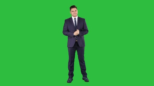 Cover Image for Handsome businessman counting euros on a Green Screen, Chroma Key.