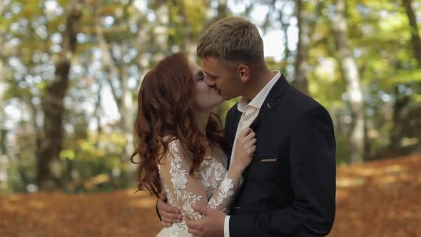 Thumbnail for Groom with Bride in the Forest Park. Wedding Couple. Making a Kiss