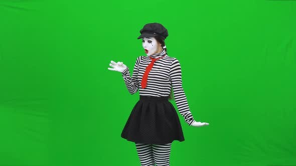 Thumbnail for Mime Girl Has Found Dandelion, Blowing on It. Chroma Key