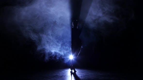 Thumbnail for Graceful Girl Dancing in Studio Cha-cha-cha, Silhouette. Dark Background, Blue Backlight