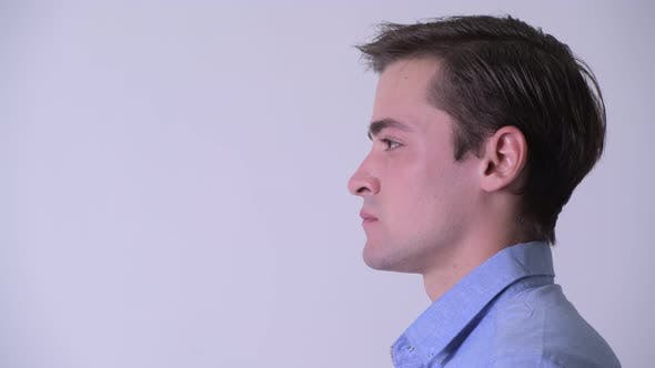 Thumbnail for Profile View of Young Handsome Businessman Thinking