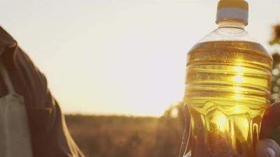 Bottle Of Golden Sunflower Oil