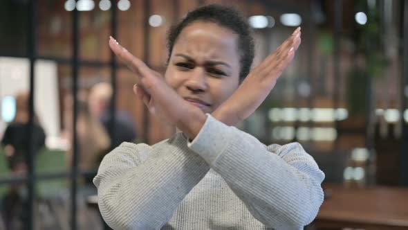 Cover Image for Rejecting Gesture By African Woman, Disliking Offer