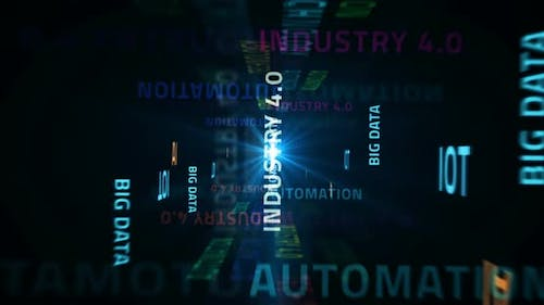 Industry 4.0 technology and automation text loop abstract concept