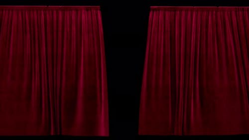 Closing Theater Red Velvet Curtains with Alpha Channel