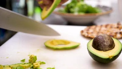 Cutting an Avocado in Pieces