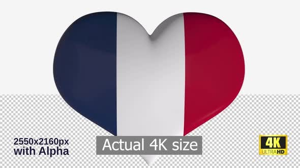 Thumbnail for France Flag Heart Spinning