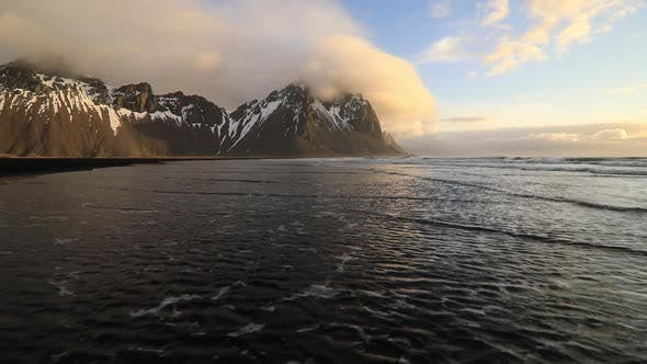 Thumbnail for Sunset at Vestrahorn Mountain and Stokksnes Beach. Iceland