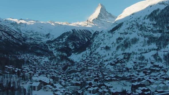 Zermatt Village and Matterhorn Mountain at Winter Morning. Swiss Alps, Switzerland. Aerial View