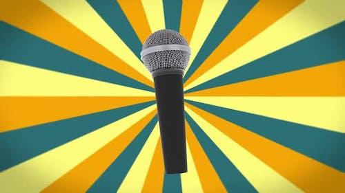 Karaoke-Mikrofon auf dem Retro-Vintage-Hintergrund