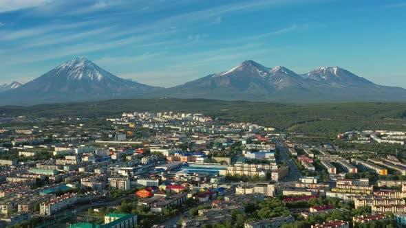 PetropavlovskKamchatsky City at Sunset