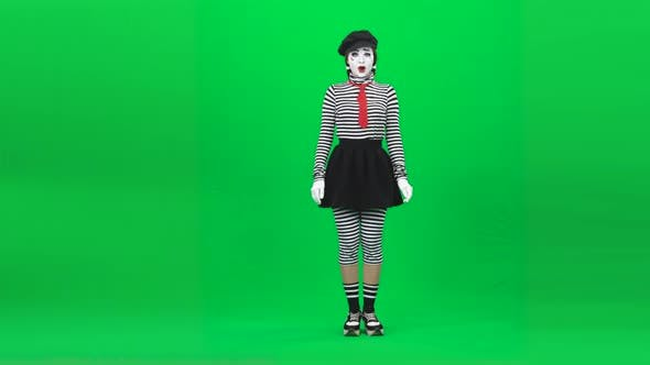 Thumbnail for Mime Girl Smiling, Seducing, Calling Someone. Chroma Key. Full Length.