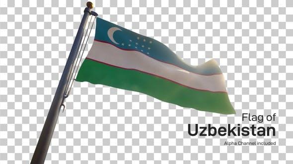 Uzbekistan Flag on a Flagpole with Alpha-Channel