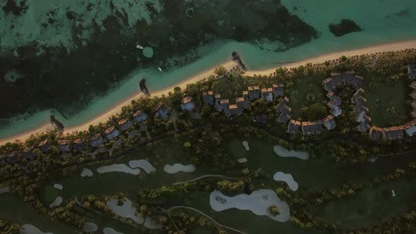 Thumbnail for Tropical Island with Houses on the Coast, Aerial View